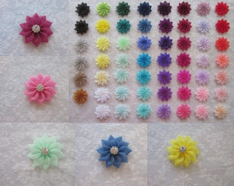 Small Organza Flower 55 Colors, 12mm Silver Rhinestone, Hair Accessory, Shoe Clips, Brooch, Bridesmaids, Wedding, Flower Girl, Toddler