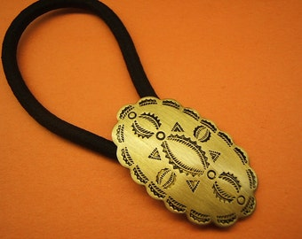 Concho Ponytail Holder, Hair Accessories, Jewelry, Elastics, Boho Jewelry, brass, antique finish, Free Shipping*, #80092-2