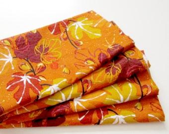 Large Cloth Napkins - Set of 4 - Orange Gold Yellow Leaves Figs