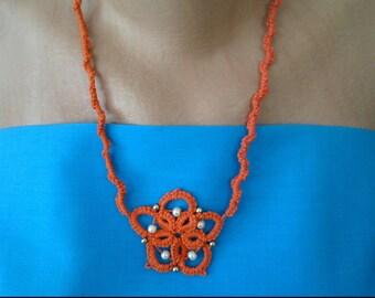 Neckless, orange with beads