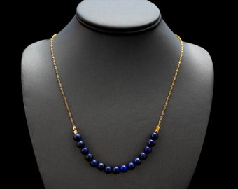 Blue Lapis Necklace/ Gold Lapis Necklace/ Lapis Lazuli Gold/ Gold Blue Necklace/ Blue Chain Necklace