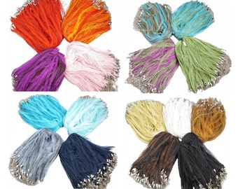 "Wholesale Lot ~ 17'' Organza Ribbon &  Waxed Cotton Necklace Cord with  2"" Extension Chain ~ Mixed Colors ~ 100 - 50 - 25 Piece Mix"