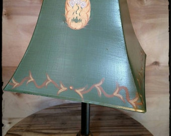 Retro Toleware Lamp Shade Square Hand Painted Green Metal / Accent Lamp  Shade / Table Lamp