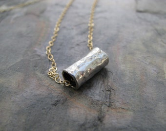 Tiny silver tube necklace,silver and gold necklace,modern minimalist,simple everyday,sterling silver,layering, bohemian jewelry,small bar