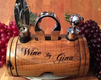 Wine Barrel with 4-Piece Wine Tool Set
