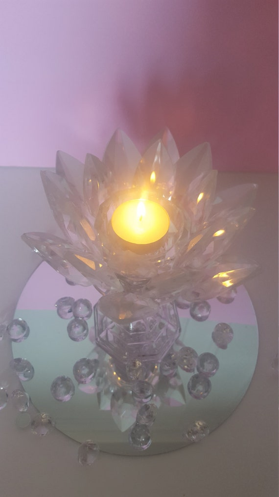 Crystal lotus flower candle holder