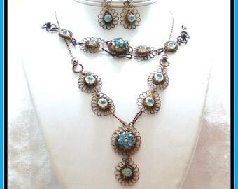 S A L E! AQUA BLUE SET Deco Parure Necklace Bracelet Screw Earrings Gold Tone Wire Mesh Rhinestones