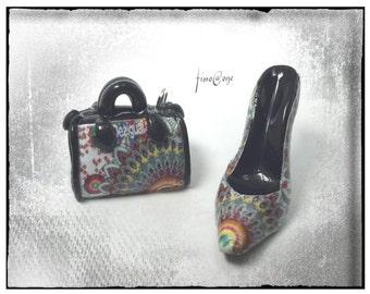Polymer clay pendants purse/shoe