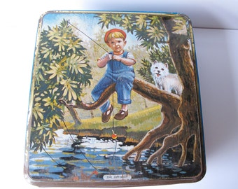Vintage illustrated biscuit tin. 'The Optimist' by McVitie & Price Ltd dates between 1917 and 1948