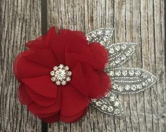 Red hair clip, rhinestone hair clip, flower girl hair clip, wedding hair clip, hair clip, bling clip, rhinestone clip, flower girl clip