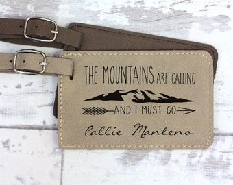 Luggage Tag - Personalized Luggage Tag - The Mountains Are Calling