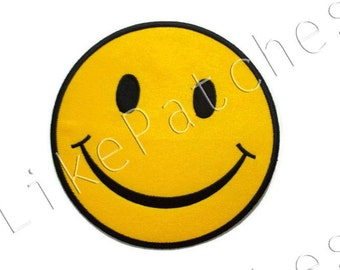 BIG SIZE - Iron on Patch - Smiley Face Yellow Patch New Sew / Iron On Patch Embroidered Applique Size 13.2cm.x13.2cm.