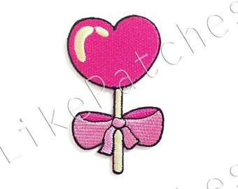 Pink Heart Candy & Ribbon Bow New Sew / Iron On Patch Embroidered Applique Size 4.8cm.x8.2cm.