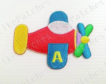 Kids Air Plane Cute Cartoon New Sew / Iron On Patch Embroidered Applique Size 9.1cm.x6.8cm.