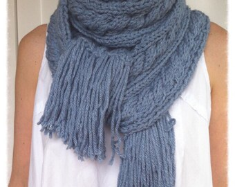 Blue scarf Super chunky, handmade knitted super long adult cable women or men scarf, giant scaf chunky cowl, adult knitted clothing, for her