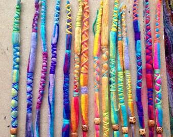 HANDMADE custom wool DREADLOCK extension inc. beads/wraps, synthetic, natural