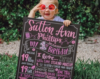 Cute As A Button first birthday chalk art board