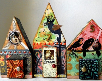 Fly, Artist Blocks, Mixed Media Collage, Birds, Original Assemblage