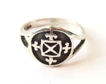 Vintage Malcolm Gray Ortak sterling silver St Magnus Cross ring, Scottish silver, Orkney Islands silver, hallmarked Edinburgh 1979. #541.
