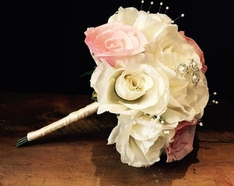 Romantic - Simple - Elegant - Classic - Vintage Rose Bridesmaid or Toss Bouquet with Faux Pearl Strands and Jewels - Ivory - Cream - Blush