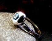 Silver Pebble Ring with blue gemstone  Silver Nugget ring with Aquamarine CZ