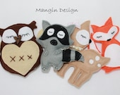 woodland cot mobile decorations felt animal decorations woodland creatures  owl raccoon fox baby deer baby mobile