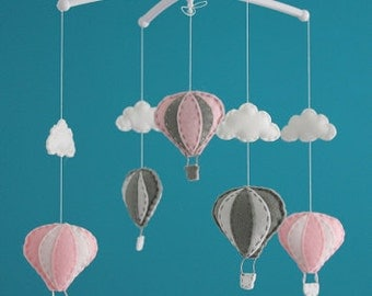 SALE!!! Gorgeous pink grey air balloon mobile hot air balloon decorations cot mobile balloon decorations nursery decor musical cot mobile