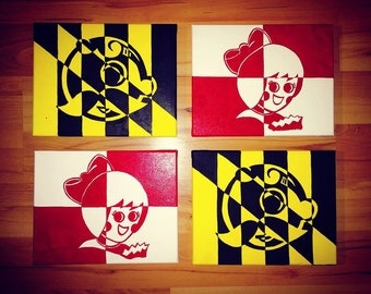 Mr Boh and Utz Girl Maryland Flag Canvases