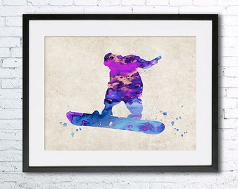 Snowboard watercolor print Snowboarding old paper watercolor Snowboarder art Winger sport Vintage home decor Wall art