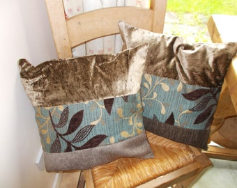 Cushion covers, brown and blue, pair of pillow covers made from designer fabric remnants,  wooden buttons.  (45 or 50 cm pad) Free UK P&P