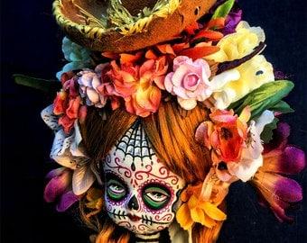 Beautiful Mortal Redhead Floral Tattooed Dia De Los Muertos Doll canon PRINT 625 Reproduction by Michael brown