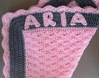 Customized Crochet Newborn Baby Girl Blanket- Pink with shells- Baby shower gift
