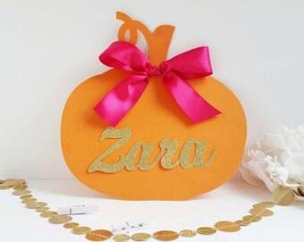 Little pumpkin baby shower - little pumpkin birthday - little pumpkin sign - Monogramed pumpkin sign - pumpkin personalized sign -