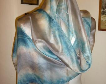 indigo scarf,indigo silk scarf,sea scarf,eco friendly scarf,hand dyed scarf,naturally dyed, blue silk scarf,grey silk scarf,dip dyed scarf
