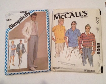 Set of 2 1980's Men's Patterns: McCall's # 6609 & Simplicity Henry Grethel # 5866