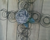 Bed Spring Cross Re-Purposed Shabby Cottage Rustic Metal Bed Spring Wreath