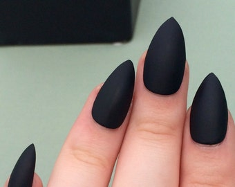 Matte black nails, stiletto nails, fake nails,