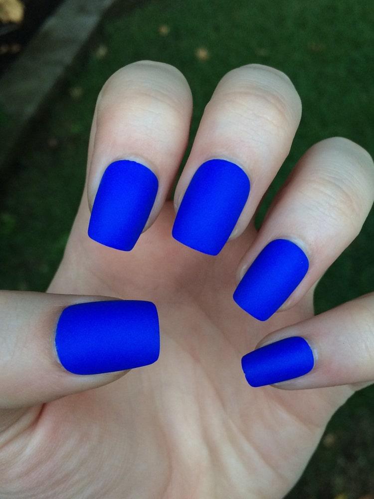Blue Nail Trend: Royal Blue Fake Nails Matte Nails Matte Press On By