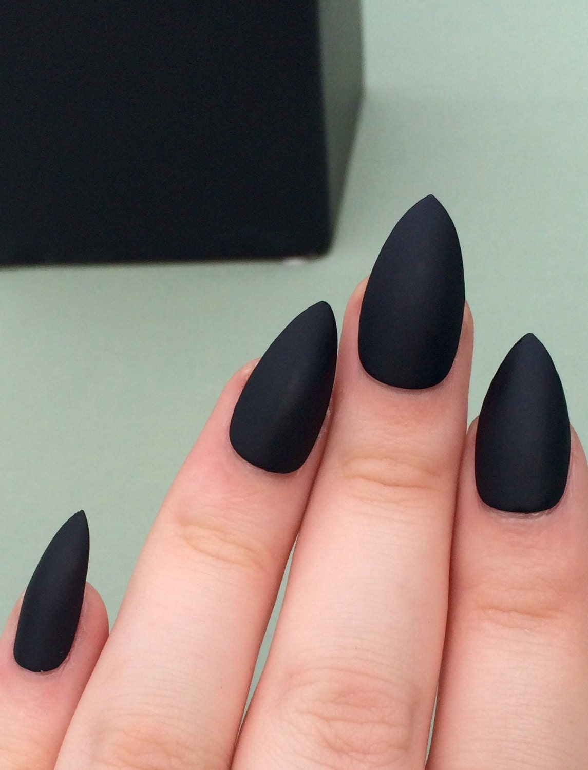 Matte Black Nails, Stiletto Nails, Coffin Nails, Fake