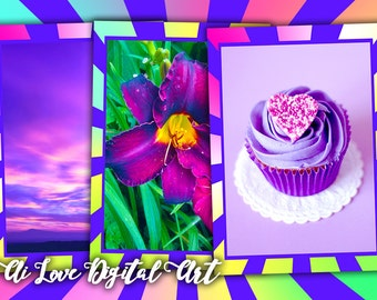 Instant download card making digital collage sheet I Love Purple, digital download greeting cards, gift tags printable images, scrapbooking