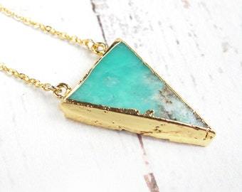 Modern Boho Necklace-Green Gemstone Necklace-Mothers Day Gift-Gift for Mom-Natural Turquoise Green Triangle Necklace-24K Gold Plated