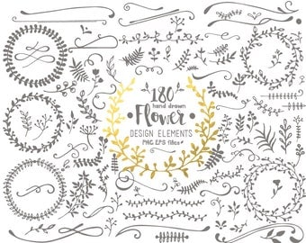 Flower Design Elements Digital Clipart & Vector Set - Instant Download - Personal and Commercial Use
