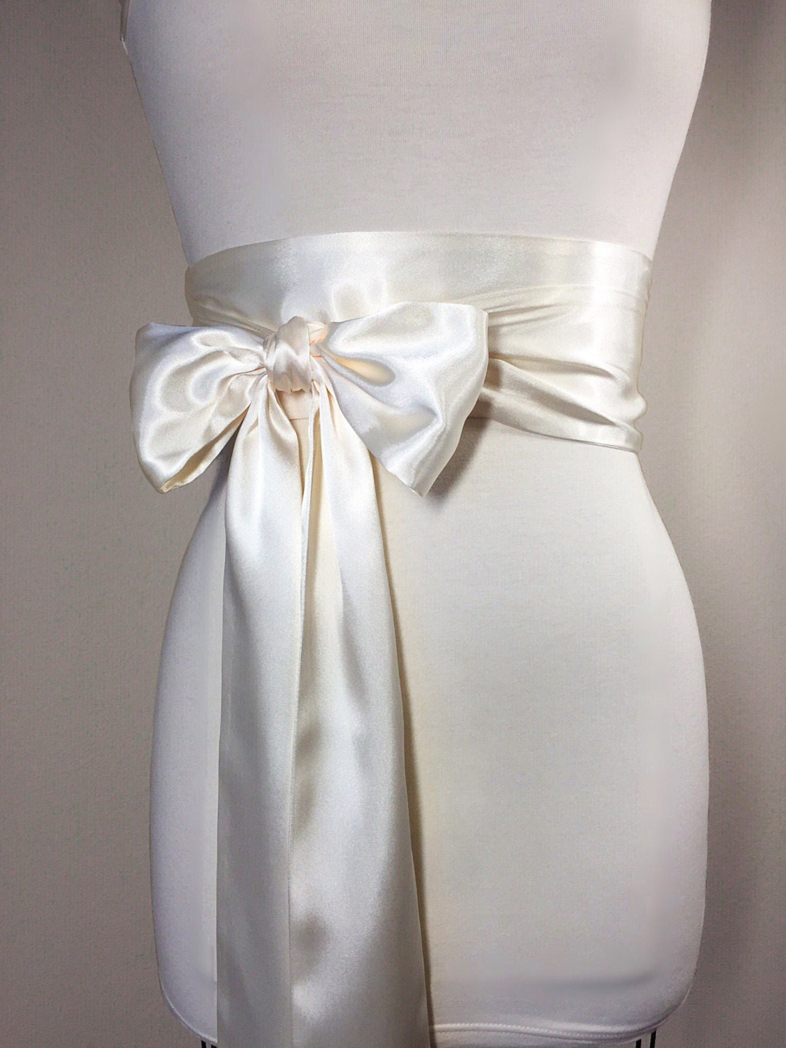 Ivory satin sash ivory sash bridal sash ivory wedding for Ivory wedding dress sash