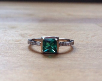 Nano emerald and cubic zirconia square sterling silver ring