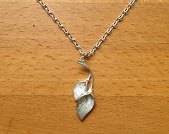 Matte silver calla leaf necklace