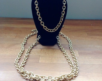 Long, large matte gold rolo chain