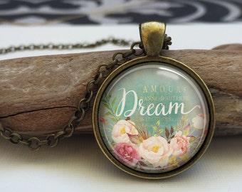 Dream Word Necklace, Dream Pendant, Inspirational art Jewelry. Dream art pendant (inspirational word #3)