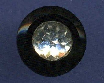 Vintage Button, Black Glass with Precision Clear Glass