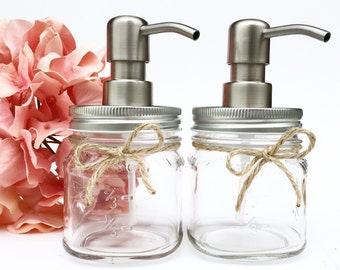 Set of 2 Mason Jar Soap Dispensers, Clear, Mason Jar, Farmhouse, Country, Rustic, Decor Bathroom, Kitchen, Housewarming, Bridal Shower, Gift