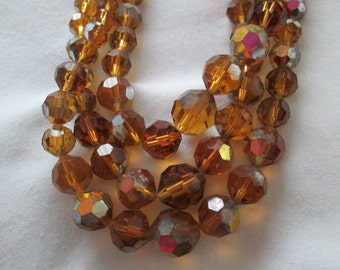 Vintage Amber 3 Strand Crystal Bead Necklace with Rhinestone Clasp